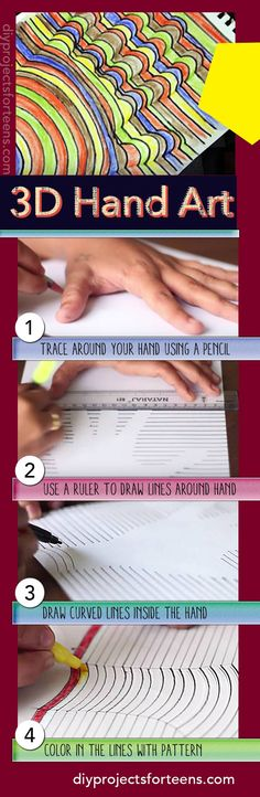 Cool Arts and Crafts Idea for Kids, Adults and Teens | How to Draw a 3D Hand Project - Easy Quick and Fun DIY Idea!