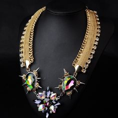 WHOLESALE FASHION JEWELRY ACCESSORIES NEW DESIGN TOP SELLING LADY MULTI COLOUR GOLD CHAIN MIXED CRYSTAL BIB STATEMENT NECKLACE COLLAR