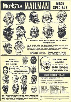 This Topstone monster mask ad ran in the Fall 1964 issue of Horror Monsters magazine. The ad itself featured several of the Topstone classic. Vintage Advertisements, Vintage Ads, Gi Joe, Monster Mask, Monster Movie, Phantom Comics, Horror Decor, Horror Monsters, Arte Horror