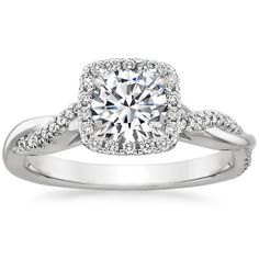 Petite Twisted Vine Halo Diamond Engagement Ring - Platinum Engagement Ring Styles, Designer Engagement Rings, Design Your Own Engagement Rings, Halo Diamond Engagement Ring, Engagement Ring Settings, Engagement Pics, Rose Gold Diamond Ring, Brilliant Earth, Moissanite