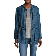 Walter Baker Women's Dani Denim Drawstring Jacket - Blue - Size M ($99) ❤ liked on Polyvore featuring outerwear, jackets, blue, woven jacket, blue jackets, zipper jacket, zip jacket and zippered denim jacket
