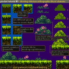 Official Post from Henk Nieborg: Drawing sideview orthograhic tileset elements. This tutorial will show you the rough basics of drawing a tileset for a sidescrolling game.