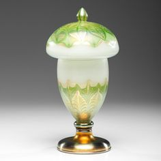 Table Lamp; Tiffany Glass, Favrile, Mushroom Shade, Pulled Feather Base, 17 inch.