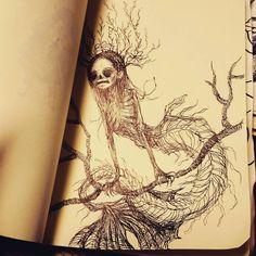 "55 Likes, 3 Comments - Kamila Mlynarczyk (@woodedwoods) on Instagram: ""#skull #darkart #horror #zombiesketch #dead #undead #monster #doodle #sketch #drawing #mermaid…"""