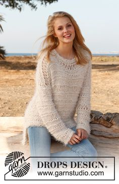 "Knitted DROPS jumper with dropped sts in ""Alpaca Bouclé"", ""Symphony"" and ""Cotton Viscose"". Size: S - XXXL. ~ DROPS Design"