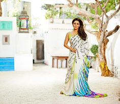 """""""A Tropical Wonder'... Satya Paul by Gauri Khan. ... For Satya Paul's 30-year anniversary, Gauri Khan collaborates with the sari house on an exclusive collection of watercolor kaftans, lush saris and drapes printed with poetic words, all inspired by the idea of an exotic vacation."""
