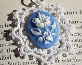 Crochet with blue & white flower cameo.