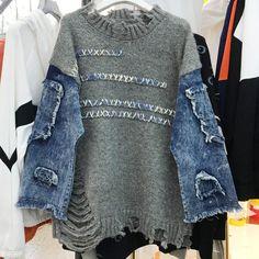 Unique Clothes For Women, Unique Outfits, Unique Clothing, Denim Fashion, Look Fashion, Street Fashion, Fall Fashion, Fashion Trends, Ropa Upcycling