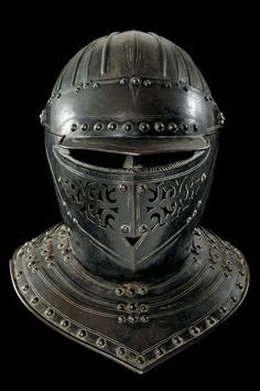 A helmet of the guard of King Louis XIII of France : Lot 494 Warrior Helmet, Helmet Armor, Suit Of Armor, Arm Armor, Body Armor, Knights Helmet, Knight In Shining Armor, Knight Armor, Medieval Weapons