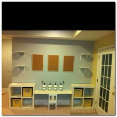 Sneak peak at our new playroom/ family room. Sneak peak at our new playroom/ family room… So excited! We've found some great deals at IKEA a Ikea Playroom, Playroom Organization, Playroom Ideas, Playroom Table, Trofast Ikea, Kallax, Murphy Bed Ikea, Murphy Bed Plans, Family Room Design
