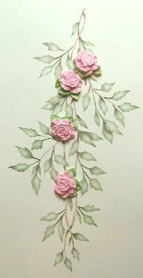 We could put roses on the castle. Rose Stencil Stenciled Vines and Molded Roses Set $30