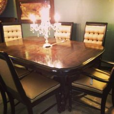 Dining Set with 6 Custom Chairs.