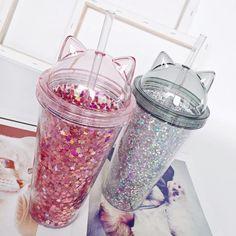 Glitter Water Bottles, Cute Water Bottles, Bpa Free Water Bottles, Water Bottle With Straw, Cup With Straw, Tumbler With Straw, Drink Bottles, Cafe Geek, Copo Starbucks