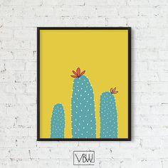 Cactus Wall Art, Cactus Printable, Cactus Poster, Cactus with flower, Yellow Background, Cactus Print, Cactus Decor, Cactus Sketch