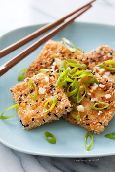 Sesame Crusted Tofu with garlic lime dipping sauce.