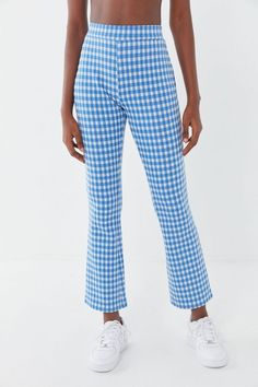 Shop UO Casey Kick Flare Pant at Urban Outfitters today. Cuffed Pants, Wide Leg Pants, Women's Pants, Harem Pants, Mint Pants, Gingham Pants, Mode Inspiration, Foto E Video, Bell Bottoms