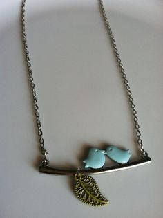 Love Birds on a Branch Sparrow Necklace by CeruleanLife, $9.50