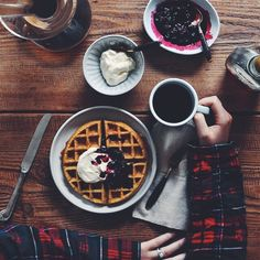 Whole Wheat Belgian Waffles with Warm Berries and Whipped Cream | Turntable Kitchen