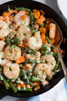 Sweet Potato Green Beans Shrimp Skillet - This Shrimp Skillet is made with sweet potato and green beans, which uses only one pot and it is done in less than 30mins.