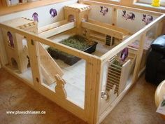 A good example of indoor pen, with ramps and hiding places for stimulation.