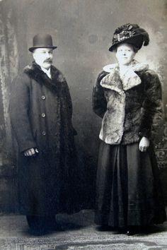 Wealthy Couple on Persian Rug Woman in Fur Coat & Huge Buckle Plume Hat Photo