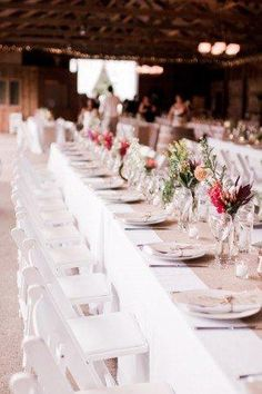 Tampa Bay Wedding Reception With White Linens Dish Place Setting And Folding Chairs