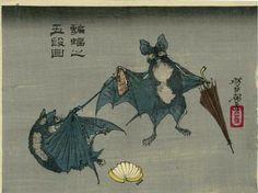 blackpaint20:  Tsukioka Yoshitoshi, Bats and Umbrellas, 1882