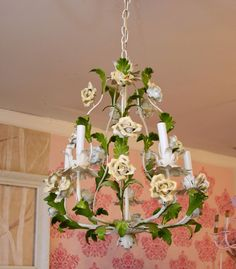 .vintage tole chandelier shabby chic yellow roses birdcage huge fabulous