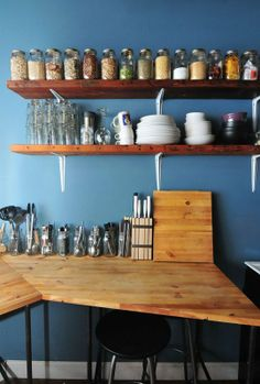 Organization Inspiration: Tidy Kitchens. I like this, everything is open so you see what you have and hopefully remember to use it.