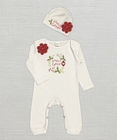 Look what I found on #zulily! Ivory & Red 'Xmas Love' Floral Playsuit & Beanie - Infant #zulilyfinds #trufflesruffles