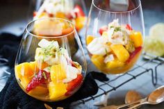 Quick mango and strawberry parfait - Recipes - Eat Well (formerly Bite) Refreshing Desserts, Great Desserts, Summer Desserts, Summer Recipes, Strawberry Parfait, Strawberry Recipes, Funky Fruit, Parfait Recipes, Healthy Sweet Treats