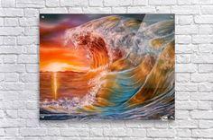 Acrylic Print,  ocean,waves, for sale, seascape, sunset, sunrise, water,rough,crashing,breaking,splashing,big,high,vivid,colorful,multicolor,bright,gold,golden,orange,impressive,illumination,beautiful,image,fine,oil,painting,scenic,modern,virtual,deviant,wall,art,awesome,cool,artistic,artwork,home,office,decor,decoration,decorative,items,ideas, pictorem
