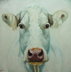 Cow painting 620 30x30 inch original animal portrait oil painting by Roz on Etsy, $365.00