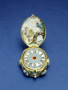 Wilhelm Peffenhauser (German) (Clockmaker), Enameled Watch with Cameo and Jewels, ca. 1650, Augsburg, Germany. Gold, shell cameo, paint on enamel, sardonyx and ruby case, paint on enamel dial, brass movement, 1 7/16 in. (3.7 cm). The Walters Art Museum
