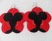 Afro Puffs Silhouette on Red Flower Earrings by Razondalee