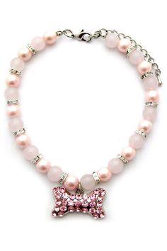 Swarovski Pet Necklace In Pink.