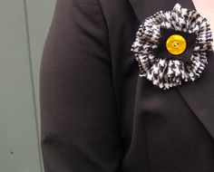 Black and White Houndstooth Harris Tweed Brooch with Black Harris Tweed and a Vintage Button