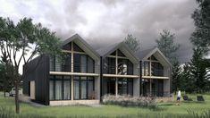 Проект современного дома (таунхауса) в современном стиле на три семьи 98 м кв Cabin, House Styles, Home Decor, Cabins, Cottage, Interior Design, Home Interior Design, Wooden Houses, Home Decoration