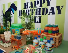 Such a great display at a Dinosaur party! See more party ideas at CatchMyParty.com! #partyideas #dinosaur