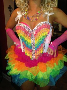 Homemade candy girl costume - We could have girls dressed like this at the door handing out the tickets!