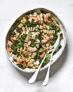 Pasta is a thrifty addition to any meal. Try one of our favourite budget pasta dishes to help with both empty stomachs. Prawn Recipes, Seafood Recipes, Pasta Recipes, Cooking Recipes, Meal Recipes, Delicious Magazine Recipes, Shrimp Toast, Clean Eating, Healthy Eating