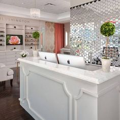 I love the Decor of this salon. With all the white and the lovely tiles on the wall behind reception. Boutique Decor, Boutique Interior, Boutique Design, A Boutique, Boutique Ideas, Bridal Boutique, Spa Design, Salon Design, Deco Spa