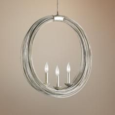"Currey and Company Haley 23"" Wide Round Silver Chandelier"