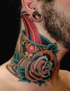 Russ Abbott, Ink & Dagger Tattoo. tea cup old school rose