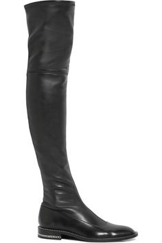GIVENCHY Chain-trimmed over-the-knee boots in black stretch-leather. #givenchy #shoes #bottes