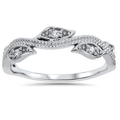 Bliss 14k White Gold 1/10ct TDW Vintage Leaf Vine Diamond Wedding Ring (H-I, I1-I2) - Overstock Shopping - Big Discounts on Bliss Women's Wedding Bands