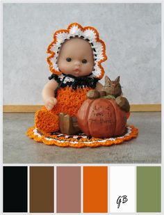 5 inch Berenguer Baby doll at Thanksgiving with color palette