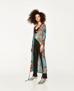 Image 1 of PRINTED KIMONO DRESS from Zara