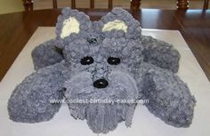 Homemade Schnauzer Birthday Cake: I made this homemade Schnauzer birthday cake for my brother-in-law's birthday.  They have 4 schnauzers.     I used a loaf pan for the body and a 9 round