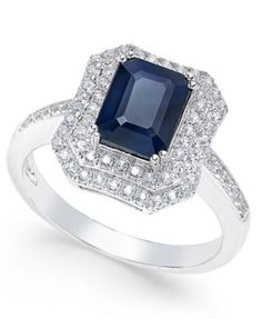 Blue Sapphire (2 ct. t.w.) and White Sapphire (1 ct. t.w.) Rectangular Statement Ring 14k White Gold